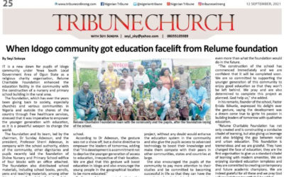 When Idogo community got education facelift from Relume foundations